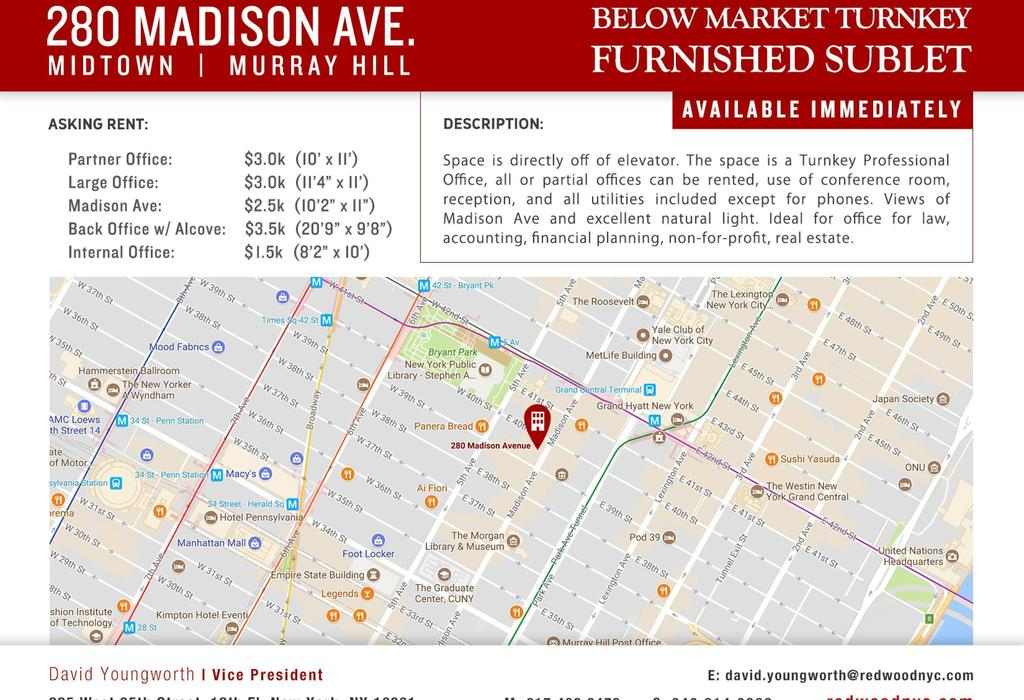 280 Madison Avenue, Suite 600 New York City, NY 10016